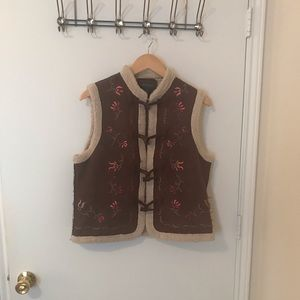 Relativity embroidered suede, faux shearling vest
